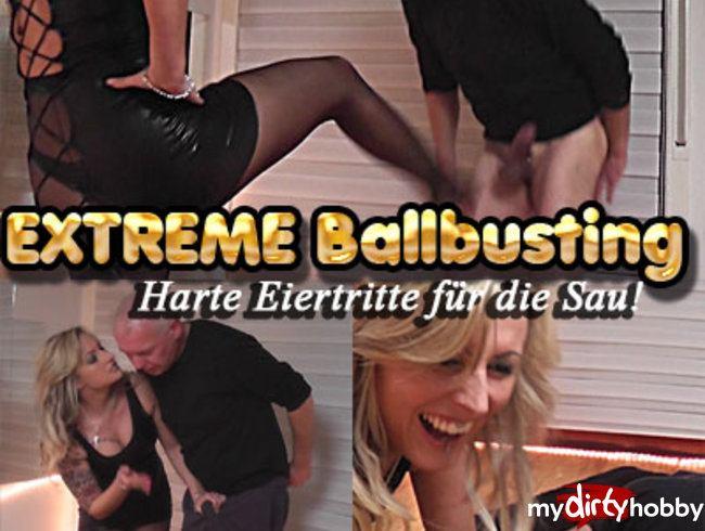 EXTREME Ballbusting! Harte Eiertritte für die Sau!