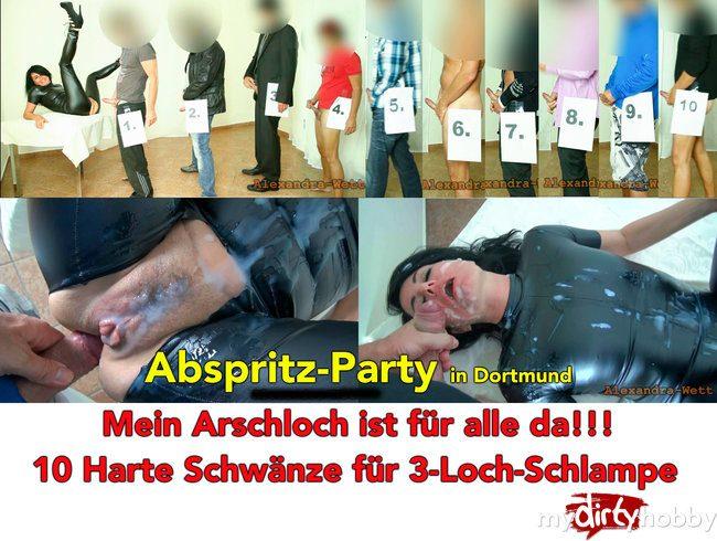 Abspritz-Party in Dortmund. 10 dicke Schwänze für die Latex-Schlampe
